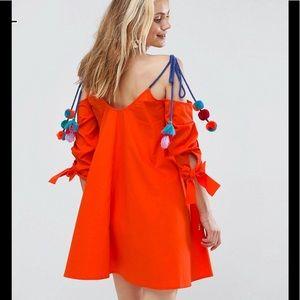 Dresses & Skirts - NWT RED ORANGE COTTON DRESS w/POM POMS